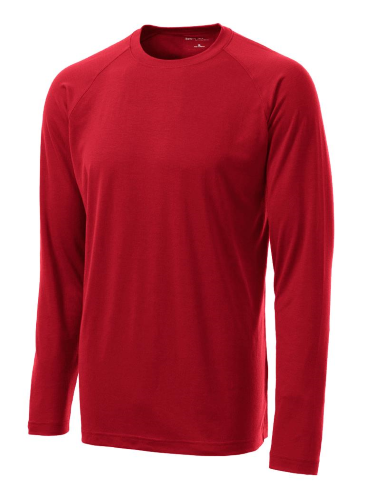 True Red Sport-Tek  Long Sleeve Ultimate Performance Crew as seen from the front