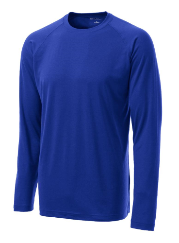 True Royal Sport-Tek  Long Sleeve Ultimate Performance Crew as seen from the front