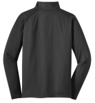 Charcoal Grey Sport-Tek Sport-Wick Stretch 1/2-Zip Pullover as seen from the back