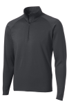 Charcoal Grey Sport-Tek Sport-Wick Stretch 1/2-Zip Pullover as seen from the front