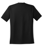 Black White Sport-Tek Dry Zone Colorblock Crew as seen from the back