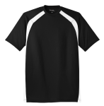 Black White Sport-Tek Dry Zone Colorblock Crew as seen from the front