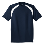 True Navy Wht Sport-Tek Dry Zone Colorblock Crew as seen from the front