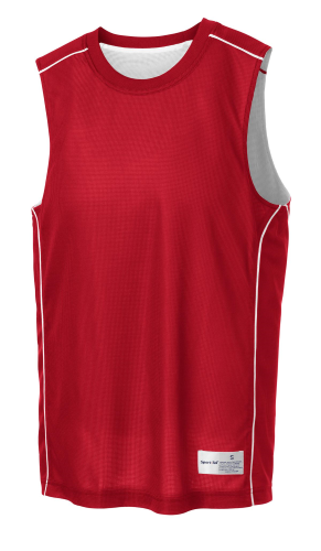 True Red White Sport-Tek PosiCharge Mesh Reversible Sleeveless Tee as seen from the front