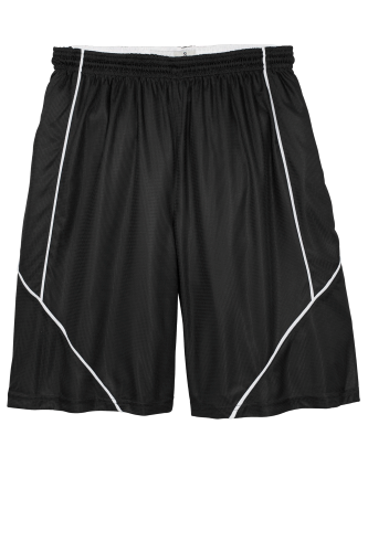 Black White Sport-Tek PosiCharge Mesh Reversible Spliced Short as seen from the front