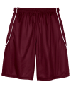 Maroon White Sport-Tek PosiCharge Mesh Reversible Spliced Short as seen from the back