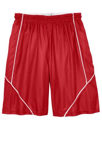 True Red White Sport-Tek PosiCharge Mesh Reversible Spliced Short as seen from the front