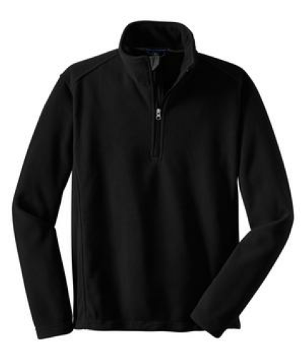 Black Port Authority Tall Value Fleece 1/4-Zip Pullover as seen from the front