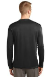 Black Sport-Tek Tall Long Sleeve Competitor Tee as seen from the back