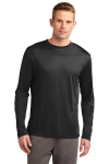 Black Sport-Tek Tall Long Sleeve Competitor Tee as seen from the front