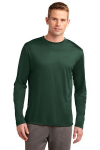 Forest Green Sport-Tek Tall Long Sleeve Competitor Tee as seen from the front
