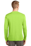Lime Shock Sport-Tek Tall Long Sleeve Competitor Tee as seen from the back