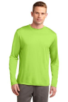 Lime Shock Sport-Tek Tall Long Sleeve Competitor Tee as seen from the front
