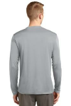Silver Sport-Tek Tall Long Sleeve Competitor Tee as seen from the back