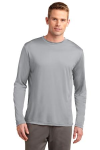 Silver Sport-Tek Tall Long Sleeve Competitor Tee as seen from the front