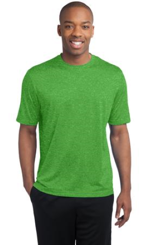 Turf Grn Hthr Sport-Tek Tall Heather Contender Tee as seen from the front