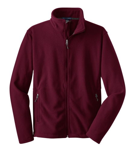 Maroon Port Authority Youth Value Fleece Jacket as seen from the front
