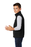 Black Port Authority Youth Value Fleece Vest as seen from the sleeveleft