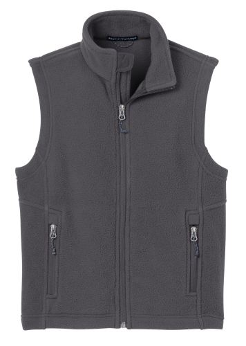 Iron Grey Port Authority Youth Value Fleece Vest as seen from the front