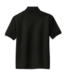 Black Port Authority Youth Silk Touch Polo as seen from the back