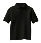 Black Port Authority Youth Silk Touch Polo as seen from the front