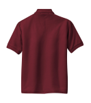 Burgundy Port Authority Youth Silk Touch Polo as seen from the back
