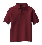 Burgundy Port Authority Youth Silk Touch Polo as seen from the front