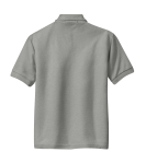Cool Grey Port Authority Youth Silk Touch Polo as seen from the back