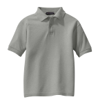 Cool Grey Port Authority Youth Silk Touch Polo as seen from the front