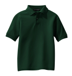 Dark Green Port Authority Youth Silk Touch Polo as seen from the front