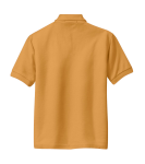 Gold Port Authority Youth Silk Touch Polo as seen from the back