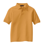 Gold Port Authority Youth Silk Touch Polo as seen from the front