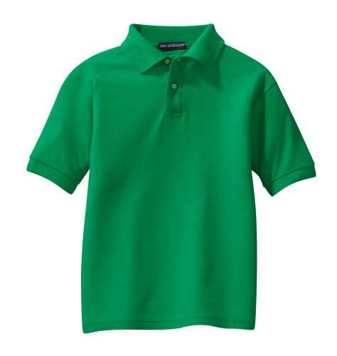 Kelly Green Port Authority Youth Silk Touch Polo as seen from the front