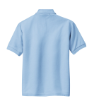 Light Blue Port Authority Youth Silk Touch Polo as seen from the back