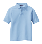 Light Blue Port Authority Youth Silk Touch Polo as seen from the front
