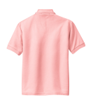 Light Pink Port Authority Youth Silk Touch Polo as seen from the back