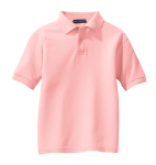 Light Pink Port Authority Youth Silk Touch Polo as seen from the front