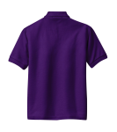 Purple Port Authority Youth Silk Touch Polo as seen from the back