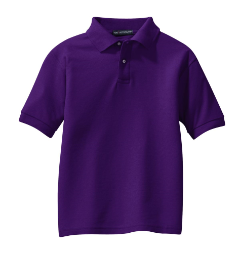 Purple Port Authority Youth Silk Touch Polo as seen from the front