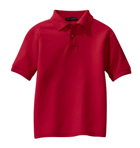 Red Port Authority Youth Silk Touch Polo as seen from the front