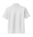 White Port Authority Youth Silk Touch Polo as seen from the back