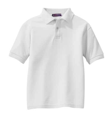 White Port Authority Youth Silk Touch Polo as seen from the front