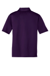 Bright Purple Port Authority Youth Silk Touch Performance Polo as seen from the back