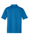 Brilliant Blue Port Authority Youth Silk Touch Performance Polo as seen from the back