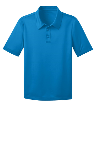 Brilliant Blue Port Authority Youth Silk Touch Performance Polo as seen from the front