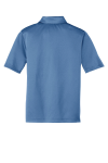 Carolina Blue Port Authority Youth Silk Touch Performance Polo as seen from the back