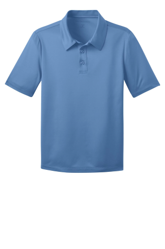 Carolina Blue Port Authority Youth Silk Touch Performance Polo as seen from the front
