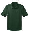 Dark Green Port Authority Youth Silk Touch Performance Polo as seen from the front