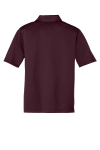 Maroon Port Authority Youth Silk Touch Performance Polo as seen from the back