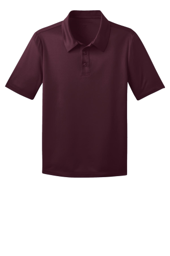 Maroon Port Authority Youth Silk Touch Performance Polo as seen from the front